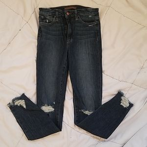 Joe's high rise distressed skinny ankle jeans